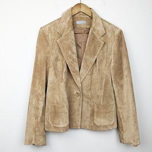 Kate Hill | Plus Tan Leather Jacket Blazer 14